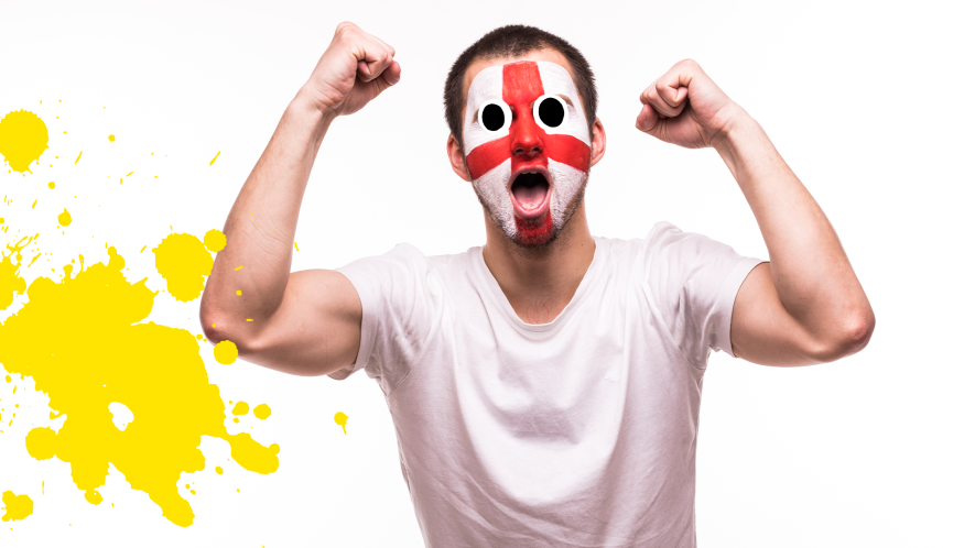 England fan on white background with yellow splat