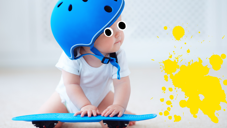 Baby with a skateboard and yellow splat