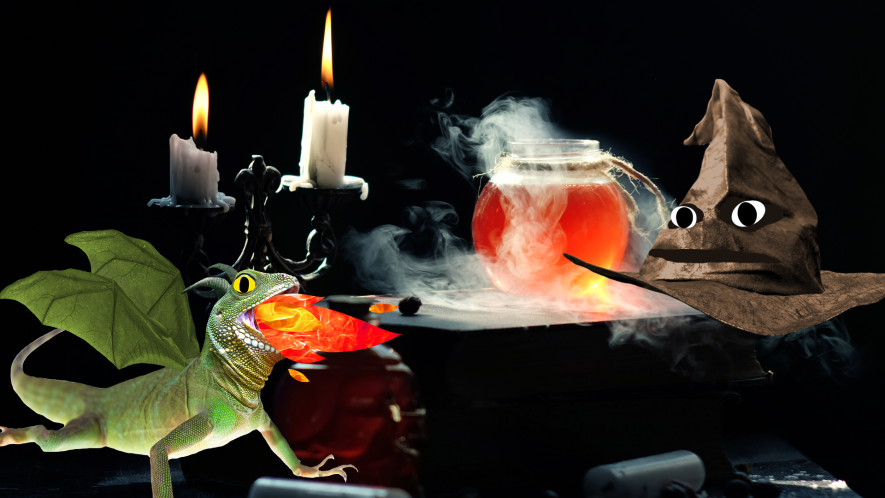 Potion, candle, sorting hat and dragon