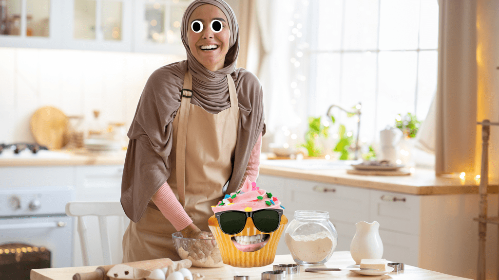 Woman baking in kitchen with derpy cupcake