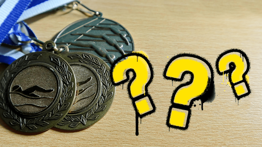 Swimming medals with question marks