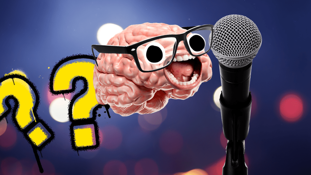 Brain with face next to microphone and question marks