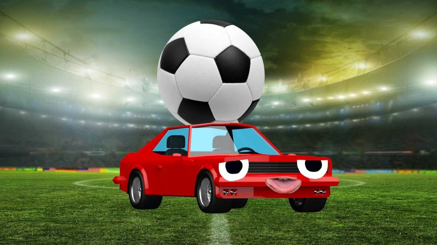 A small car carrying a football