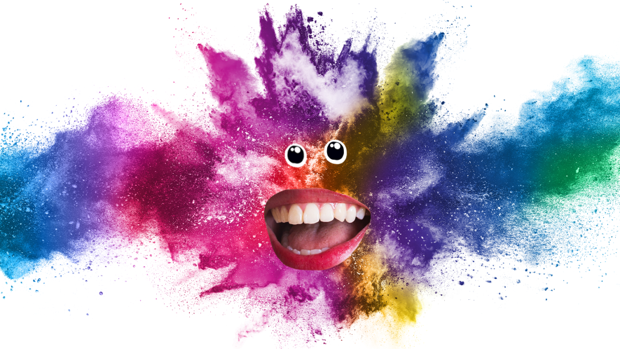Burst of colour with eyes and mouth
