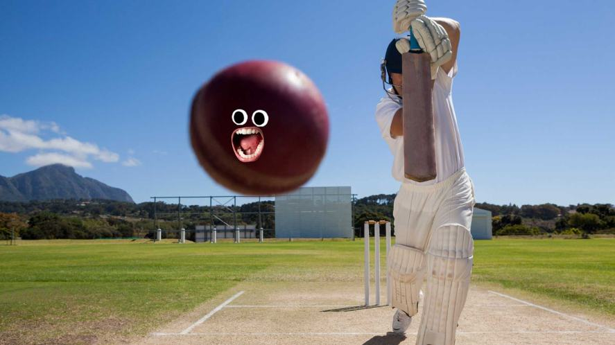 A cricket player hitting a ball