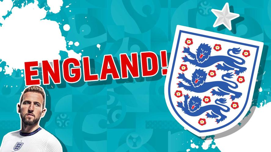 The England badge and Harry Kane