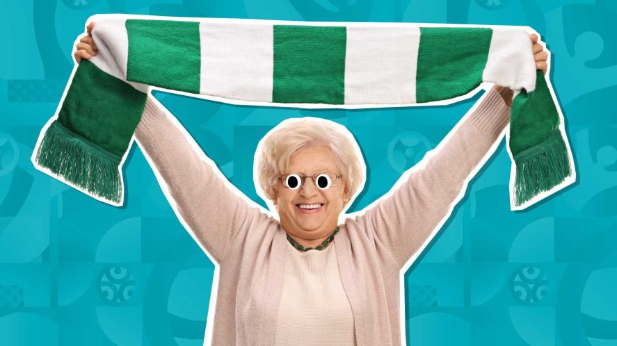A grandmother with a green and white football scarf