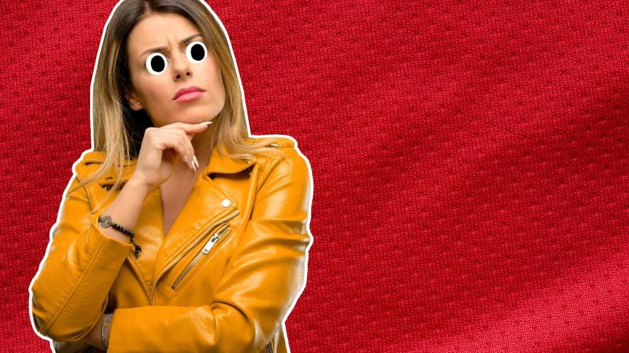 A woman thinking about football shirts