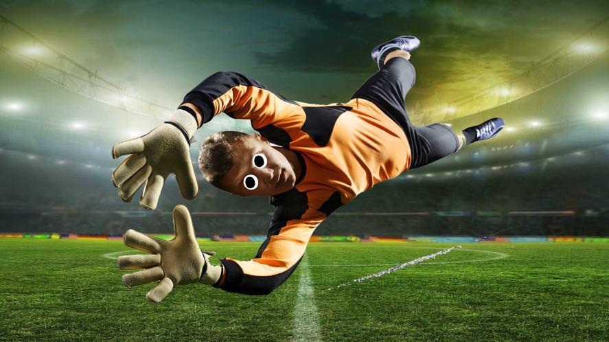 A diving goalkeeper