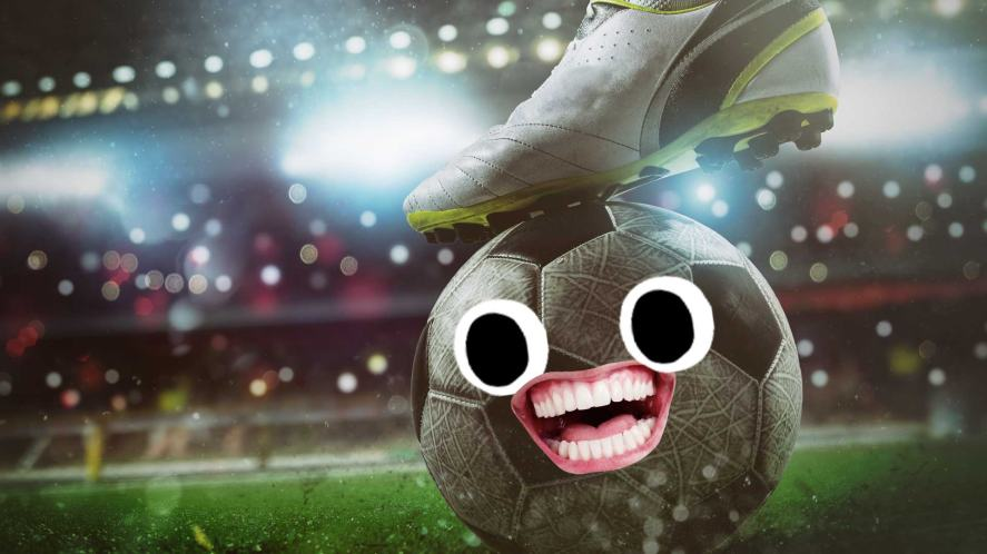 A smiling football before a penalty kick