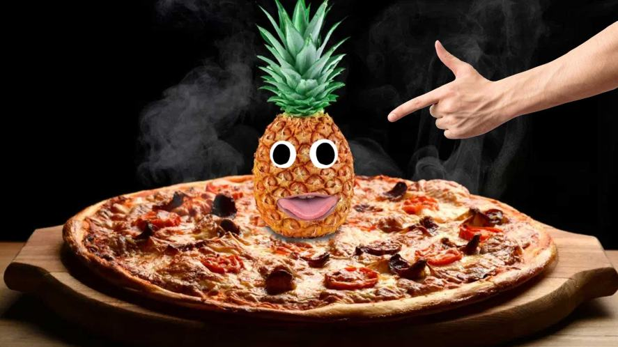 Pineapple on a pizza