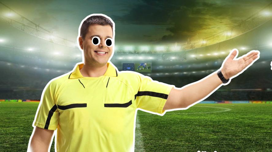 A smiling referee
