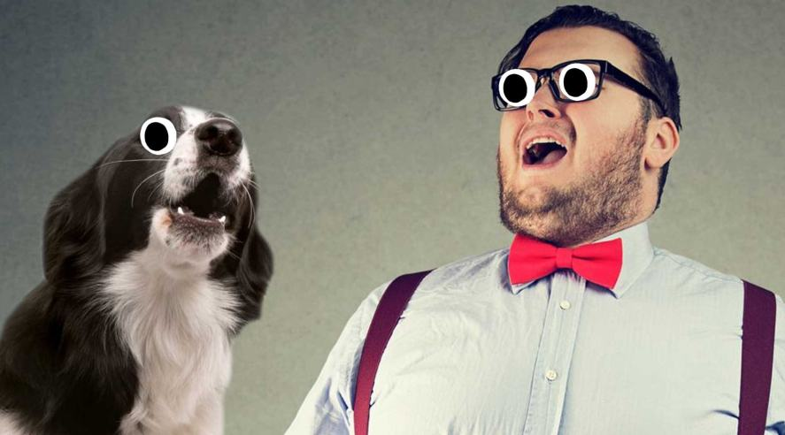 A singing dog and man joining in