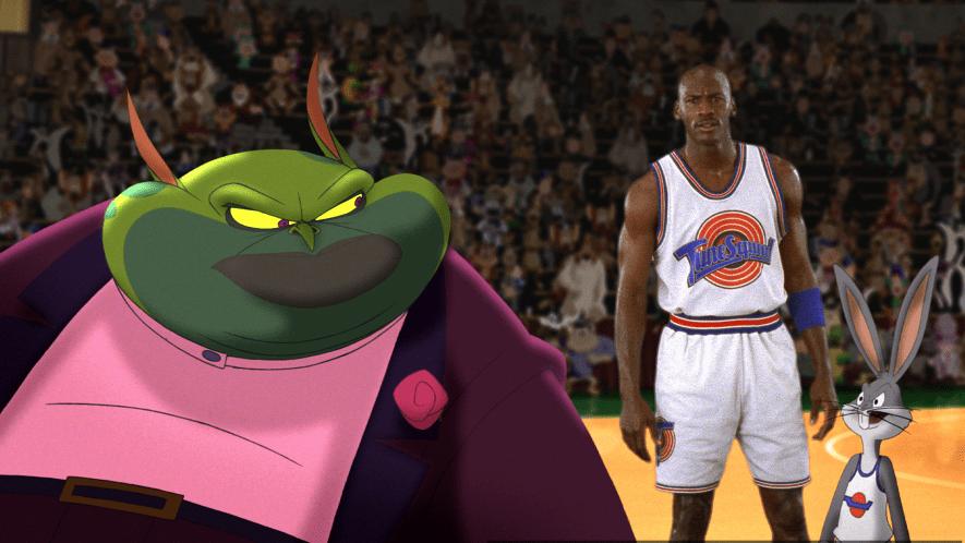 Michael Jordan and Bugs Bunny on the basketball court