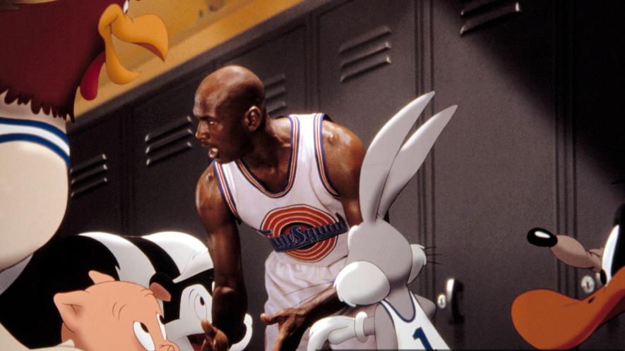 Michael Jordan giving a pep talk to the Looney Tunes team