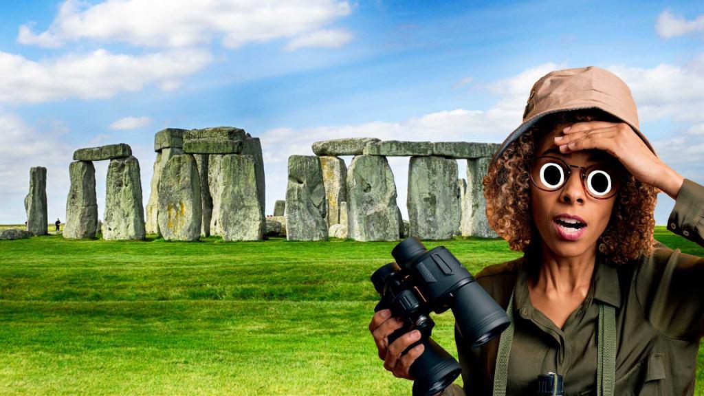 An explorer at Stonehenge