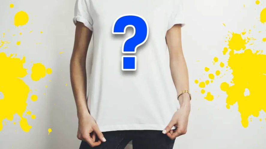 A white t-shirt with a question mark on the front