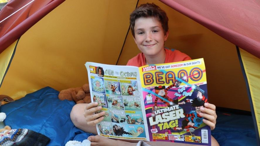 Max with his favourite comic