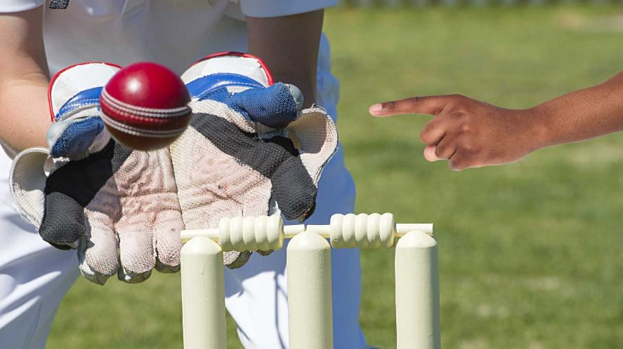 A wicket keeper catching the ball