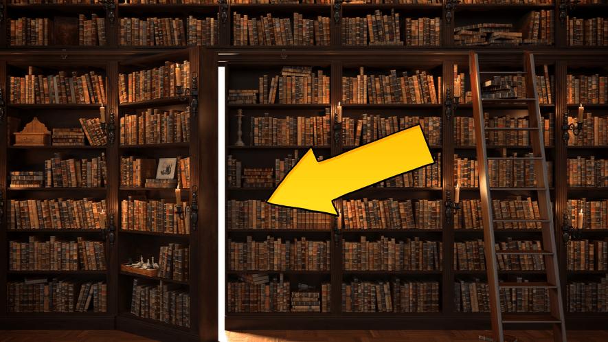 Secret door in bookcase with Beano arrow