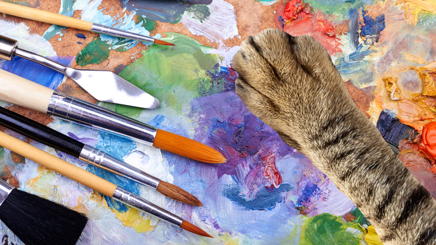 Art palette and cat paw