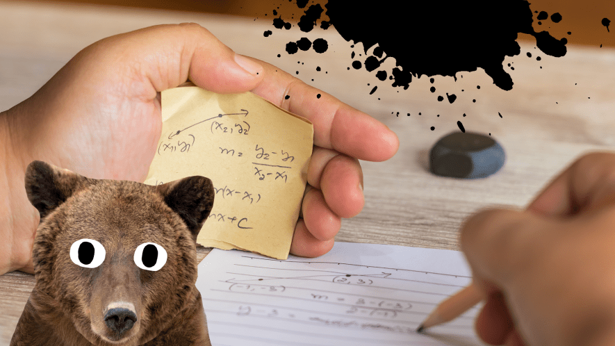 Test paper and cheat sheet, and surprised bear