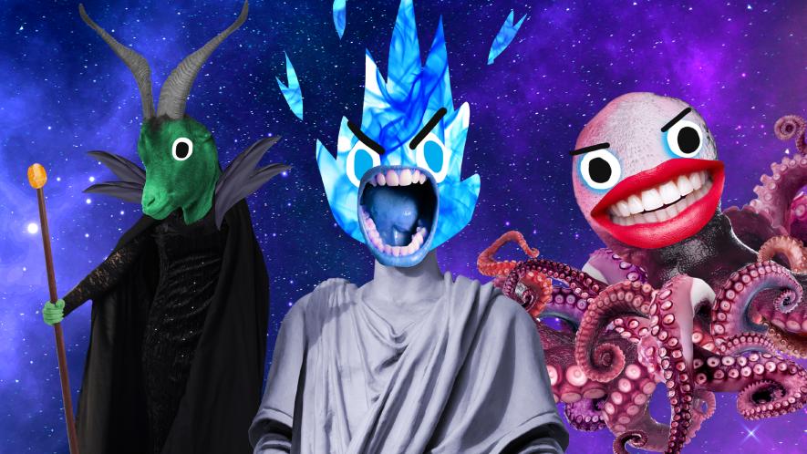 Beano Disney villains on space background