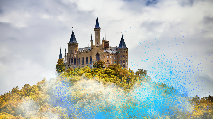 Castle on hill with Beano magic dust
