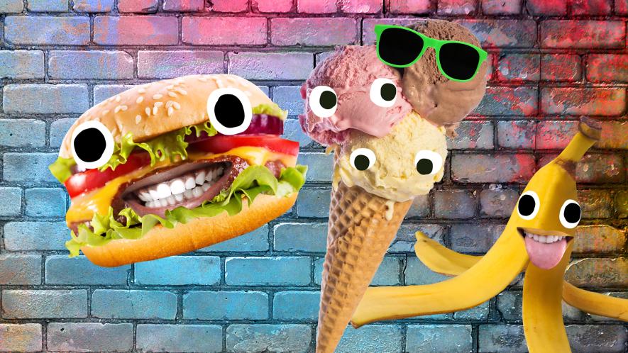 Beano burgers, ice cream and banana on wall background