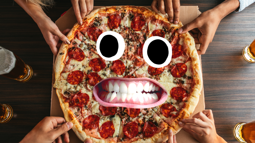 hands reaching for pizza with goofy face