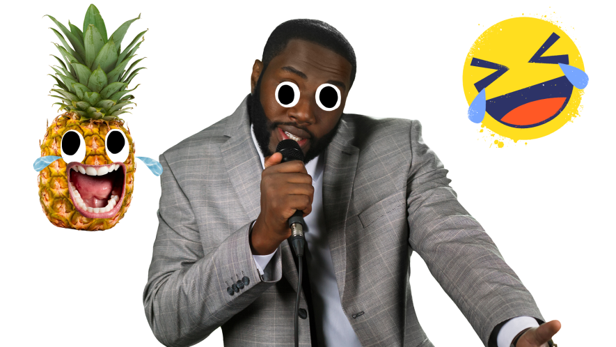 Stand-up comedian on white background with pineapple and laugh emoji