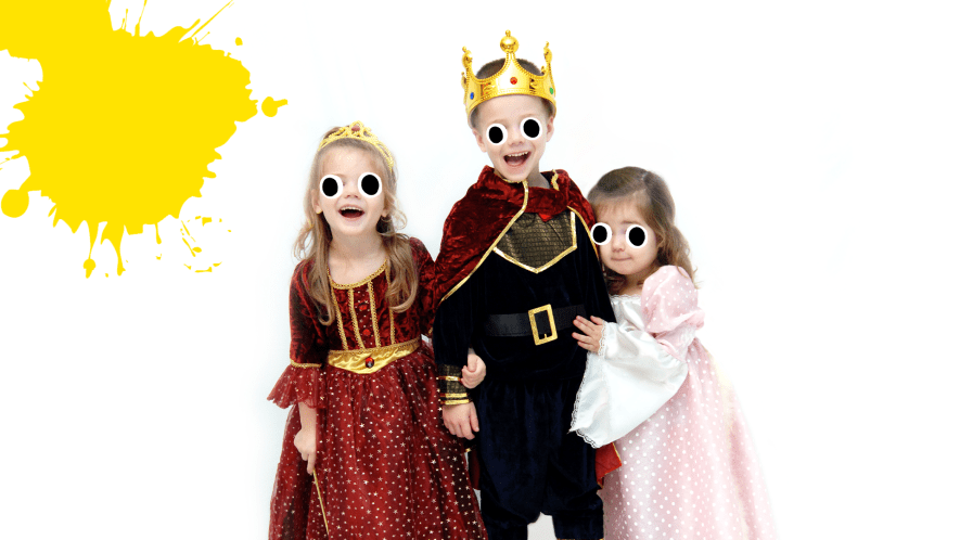 Children dressed as royals on white background with yellow splats
