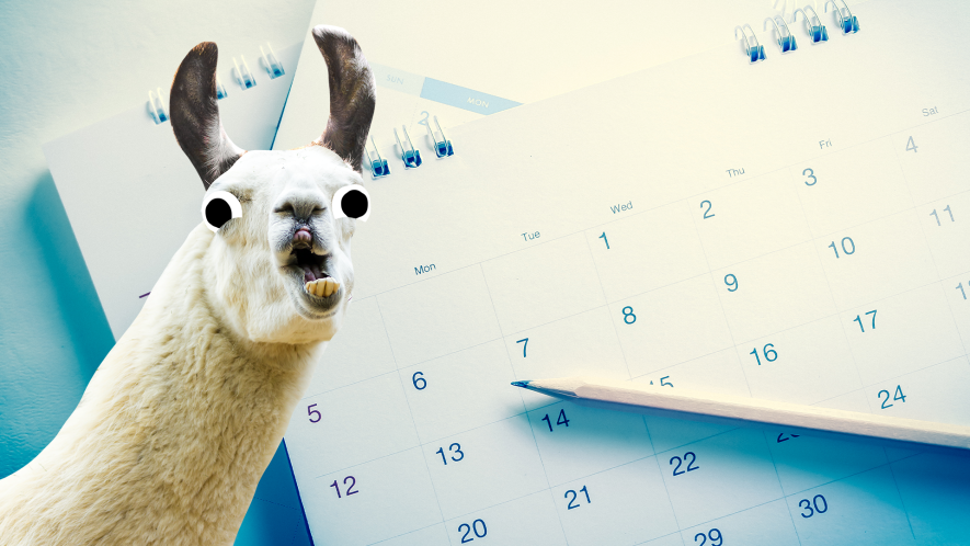 Derpy llama on calendar background