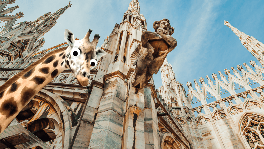 Looking up at cathedral with derpy giraffe