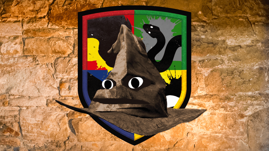 Hogwarts shield and sorting hat on stone background
