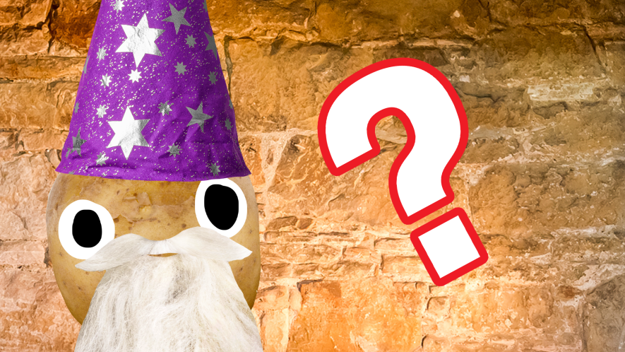 Beano Dumbledore on stone background with question mark