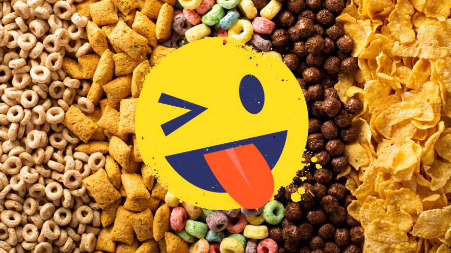 Cereal with tongue out emoji