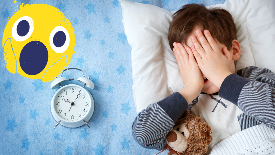 Boy in bed, late, with alarm clock and shocked emoji