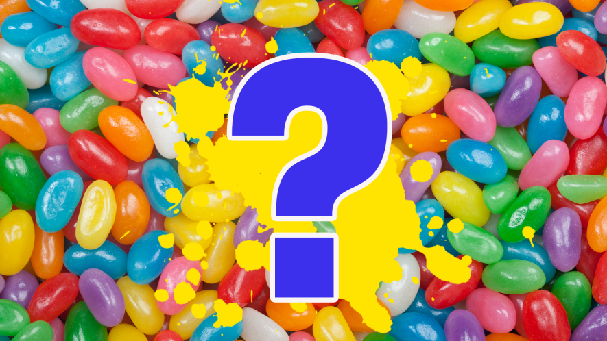 Question mark on jellybean background