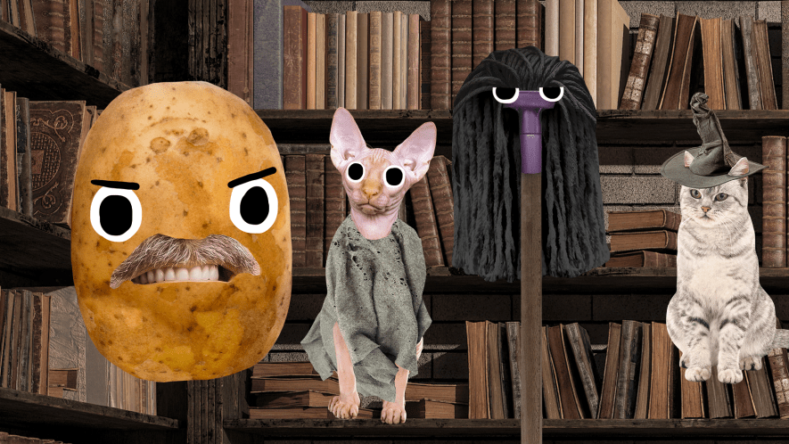 Beano Harry Potter characters on library background