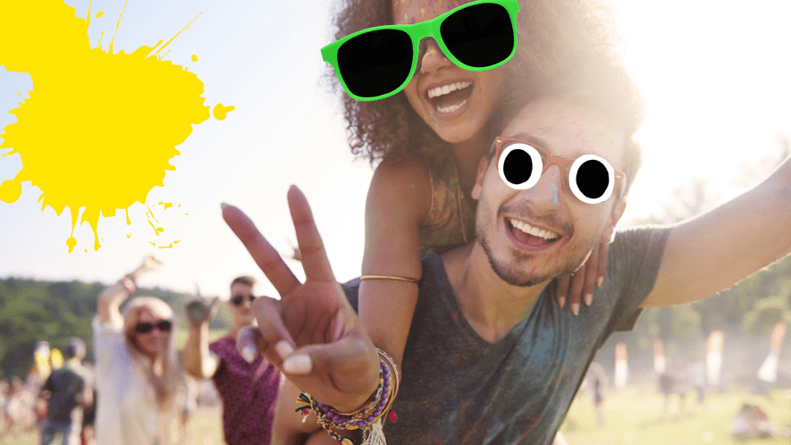 Couple doing the peace sign with yellow splat