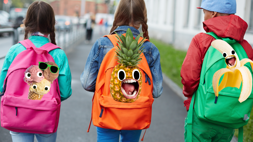 Three kids walking to school with derpy Beano food on their backpacks