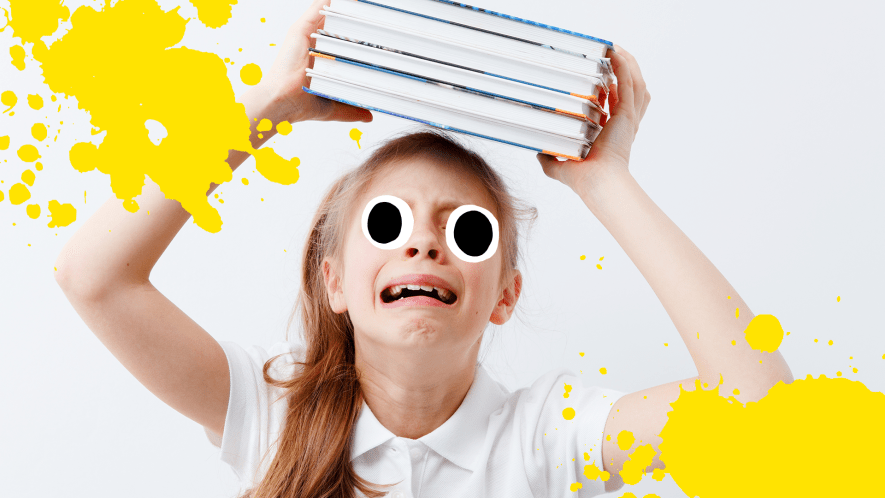 Girl looking upset with stack of books on white background with yelllow splats