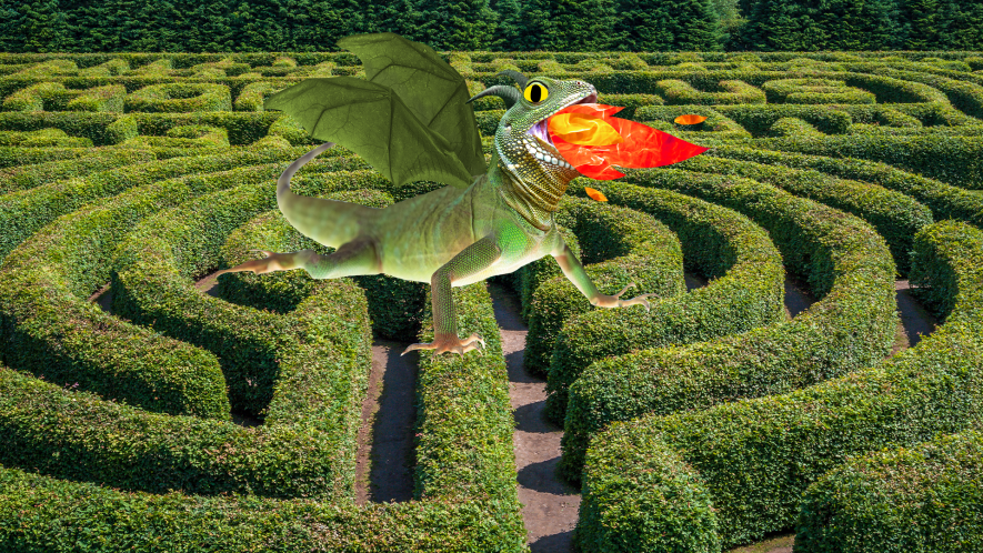 Hedge maze with Beano dragon in the middle