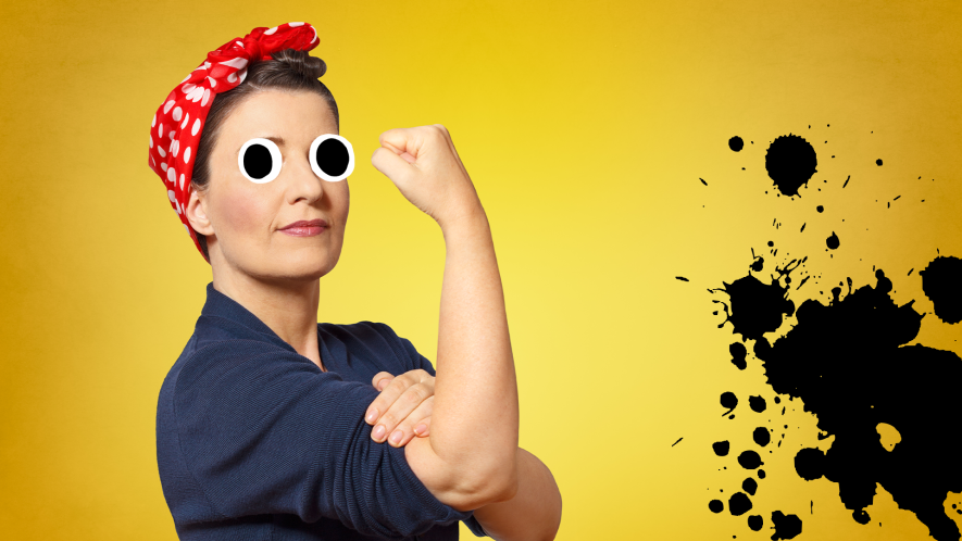 We can do it woman on yellow background with black splats