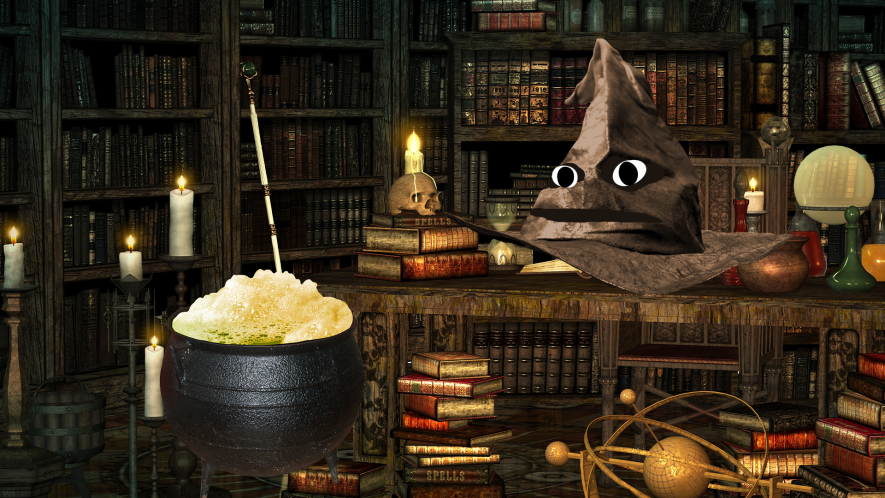 Magic objects and books and Beano cauldron and Sorting Hat