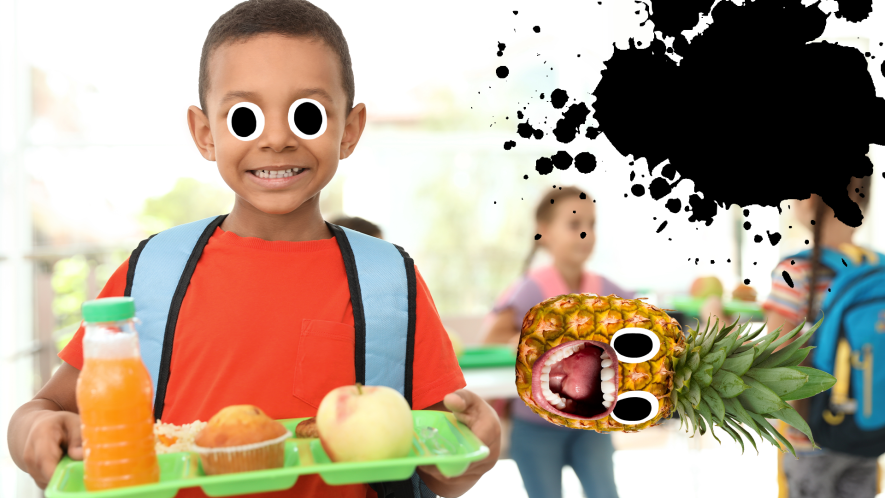Boy with lunch tray, splat and screaming pineapple