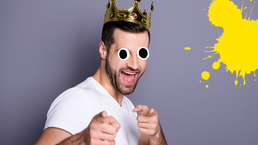 Man in crown on grey background with splats