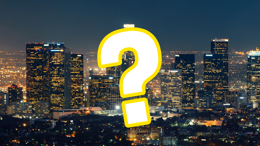City scape at night with question mark