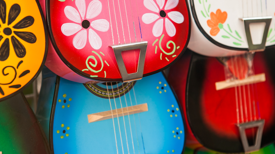 60s-looking painted acoustic guitars